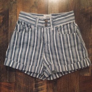 UO BDG Striped Denim High-Rise Cuffed Shorts